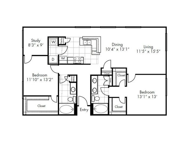 1,389 sq. ft. Grapevine floor plan