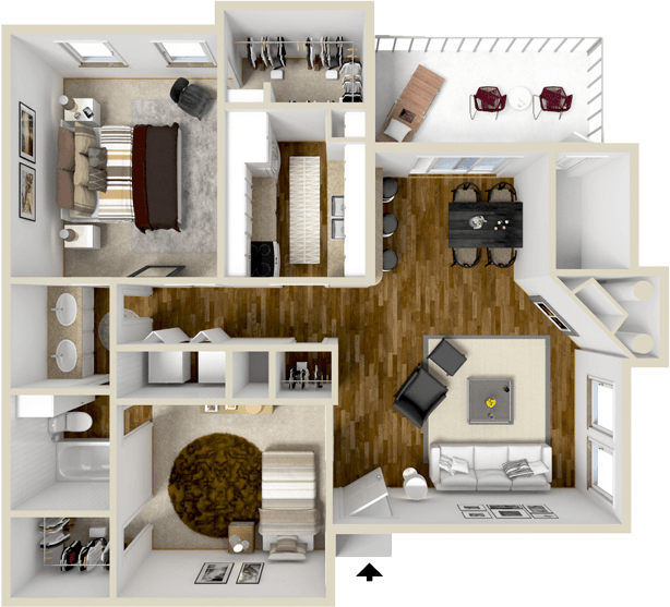 1,010 sq. ft. BS floor plan