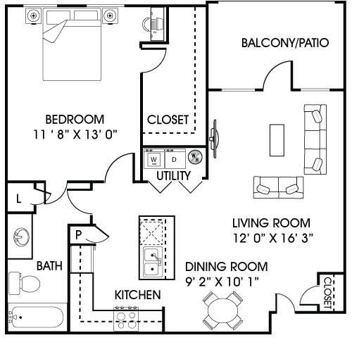 759 sq. ft. A1 floor plan