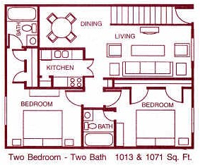 1,013 sq. ft. H floor plan