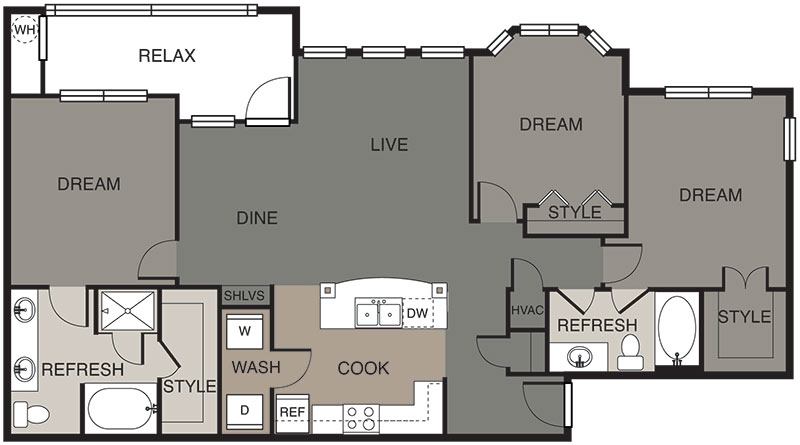 1,347 sq. ft. Longhorn floor plan