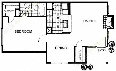 776 sq. ft. floor plan