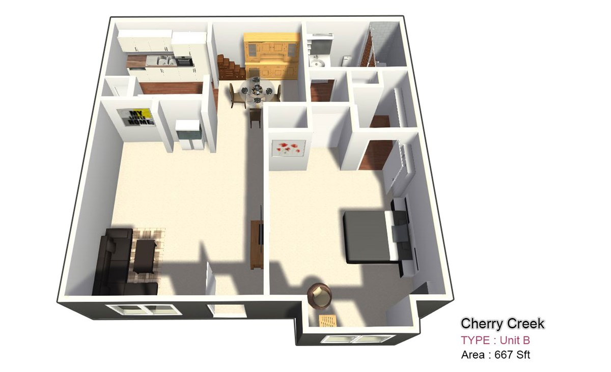 667 sq. ft. B floor plan