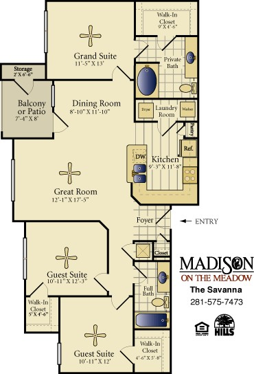 1,277 sq. ft. SAVANNA floor plan
