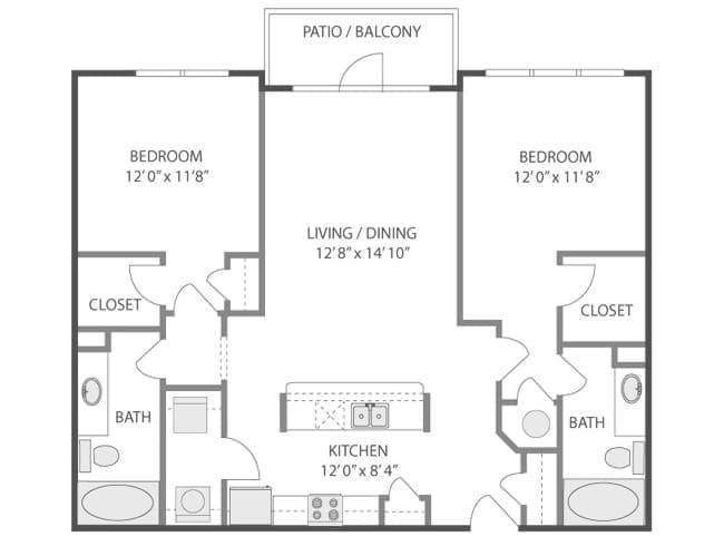 1,140 sq. ft. Breakers/C5 floor plan