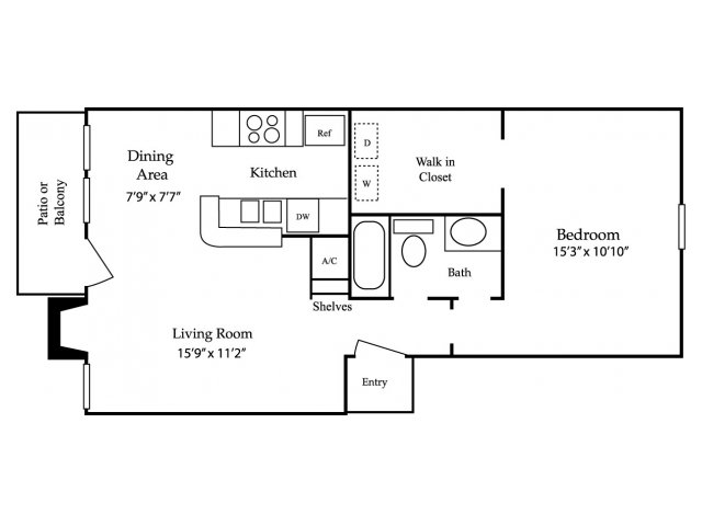 683 sq. ft. A3 floor plan