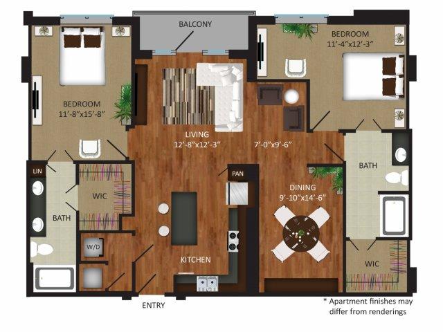1,427 sq. ft. B8 floor plan