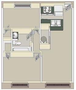 825 sq. ft. Medium 2x1 floor plan