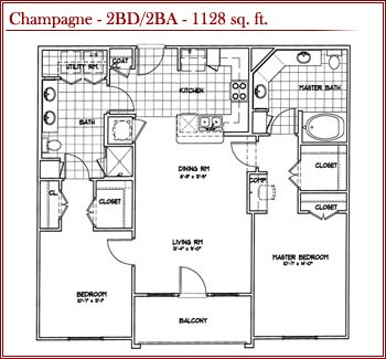 1,128 sq. ft. CHAMPAGNE floor plan