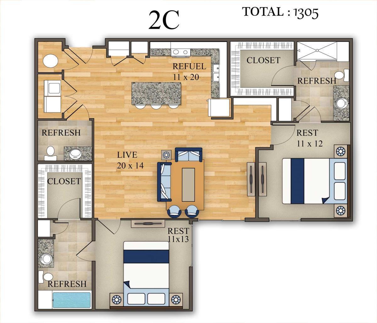 1,305 sq. ft. 2C floor plan