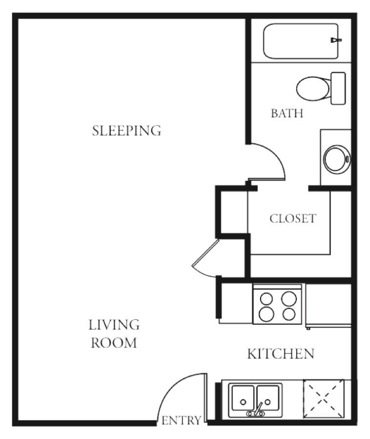414 sq. ft. Pebble Beach floor plan