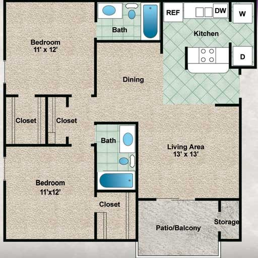 932 sq. ft. Live Oak floor plan