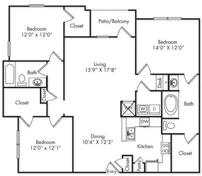 1,491 sq. ft. C1 floor plan
