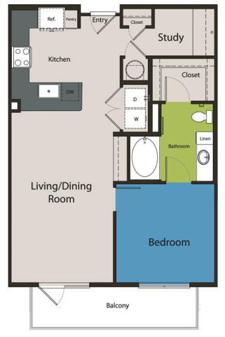 802 sq. ft. A2.1 floor plan