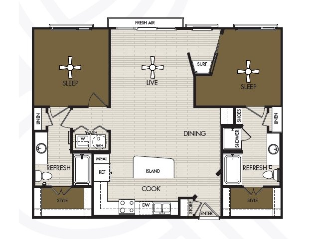 1,177 sq. ft. B2b floor plan