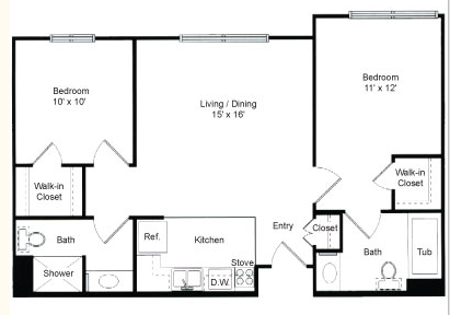 840 sq. ft. Edgebrook floor plan