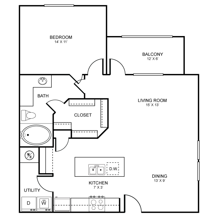 831 sq. ft. Addison floor plan
