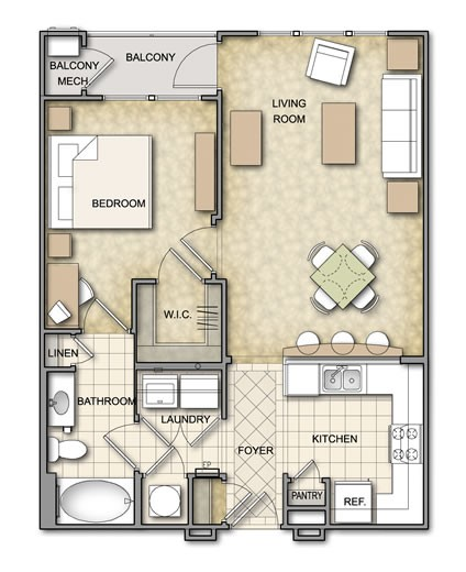 718 sq. ft. A1.1 floor plan