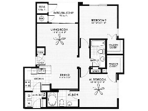 955 sq. ft. Marble floor plan