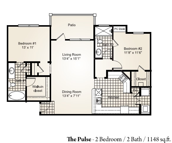 1,148 sq. ft. PULSE floor plan