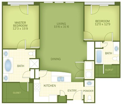 1,286 sq. ft. Melbourne floor plan