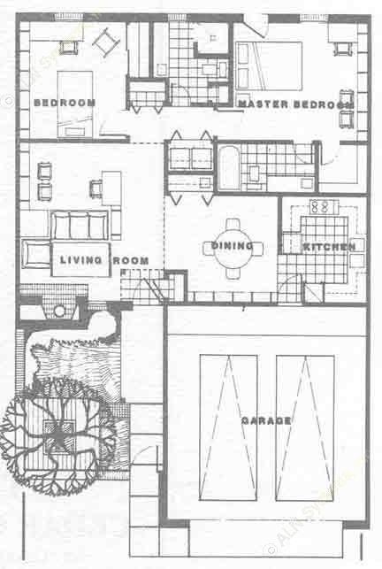 1,130 sq. ft. B floor plan