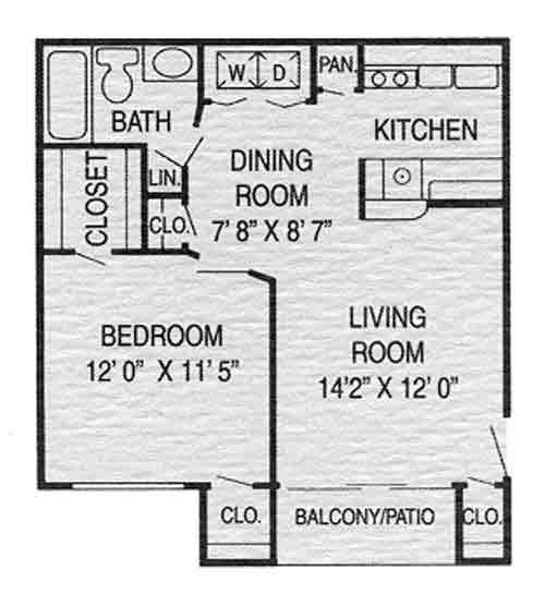 603 sq. ft. A1 floor plan