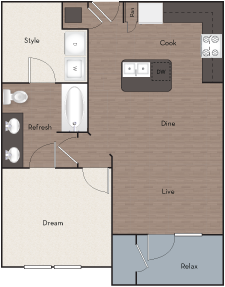 762 sq. ft. A6E floor plan