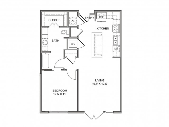 795 sq. ft. Wood floor plan