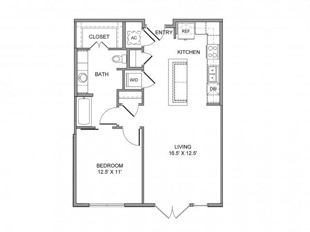 795 sq. ft. Wood floor plan