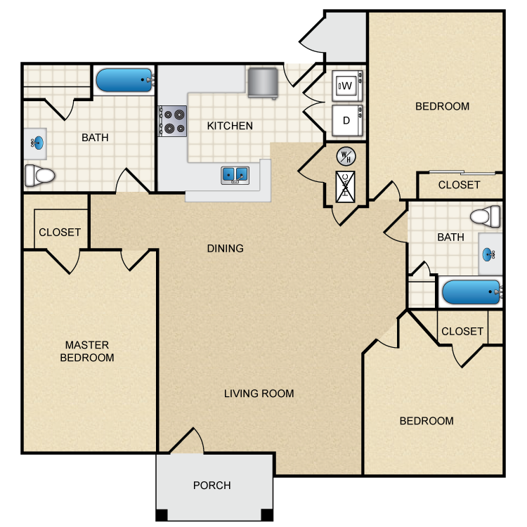 1,262 sq. ft. floor plan