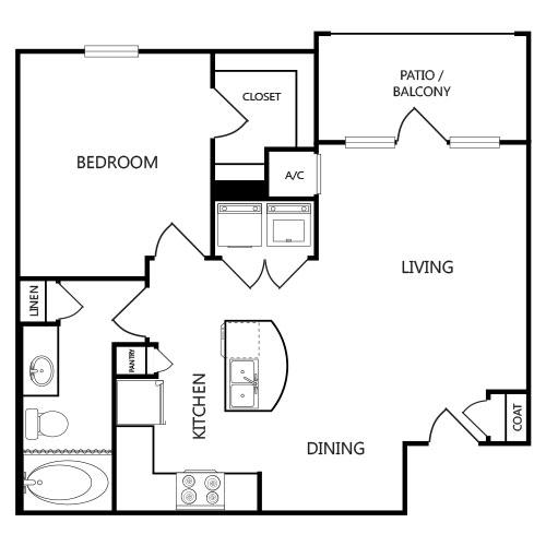720 sq. ft. A1 floor plan