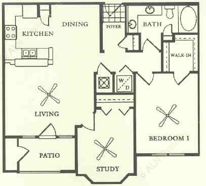 943 sq. ft. to 1,041 sq. ft. A4 floor plan