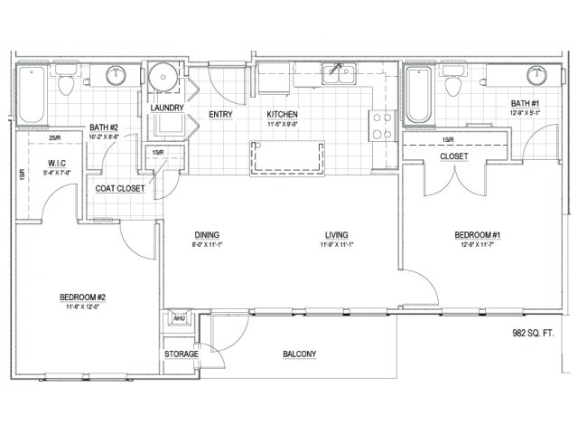 982 sq. ft. 30 floor plan