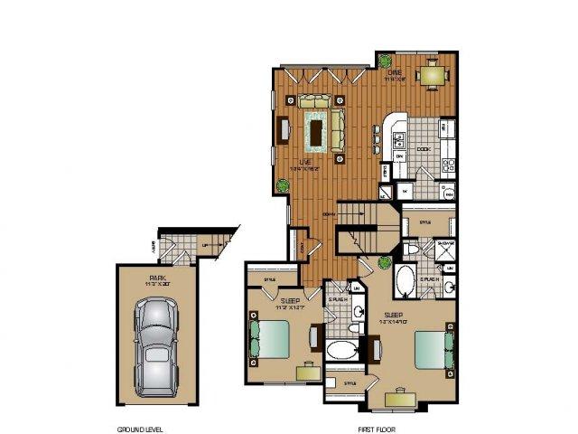 1,317 sq. ft. B3 TH floor plan