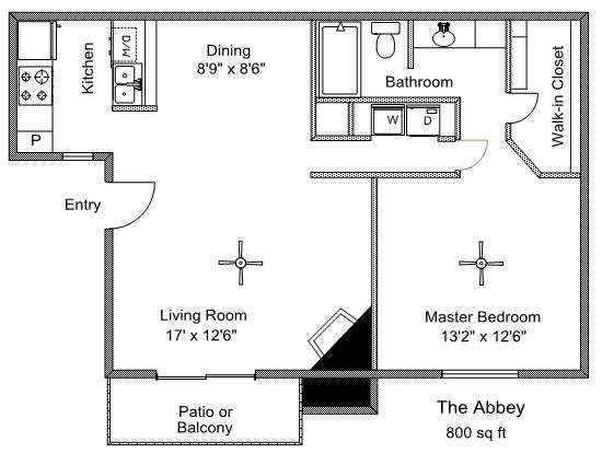 800 sq. ft. Abby floor plan