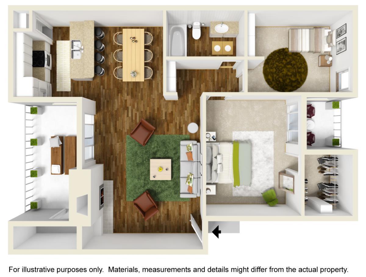 860 sq. ft. B-1 floor plan