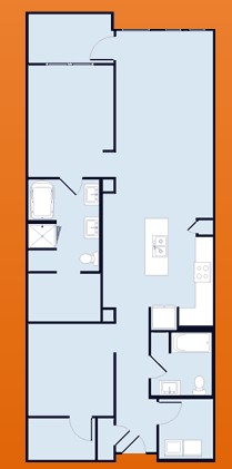 1,260 sq. ft. floor plan