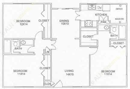 1,270 sq. ft. C-1-U floor plan