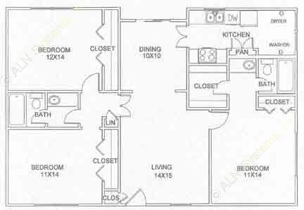 1,270 sq. ft. C-2-U floor plan