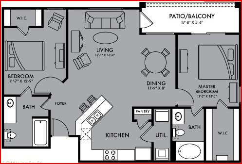 1,046 sq. ft. Nova floor plan