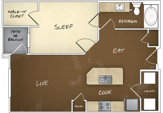 750 sq. ft. A1 floor plan