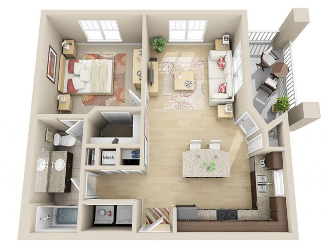 709 sq. ft. A6 floor plan