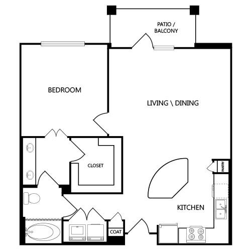841 sq. ft. A4 floor plan