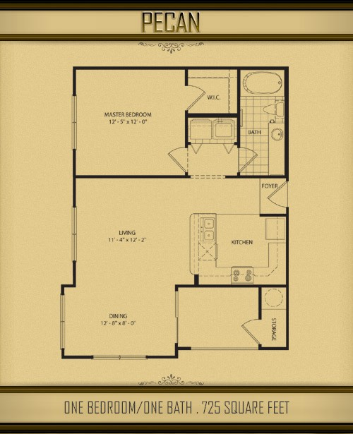 725 sq. ft. PECAN floor plan