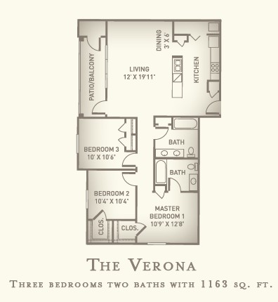 1,163 sq. ft. Verona floor plan
