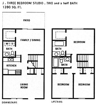 1,390 sq. ft. J floor plan