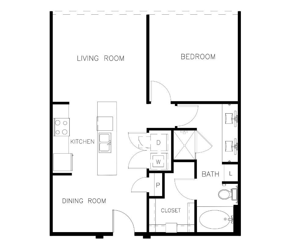 828 sq. ft. A1-D floor plan