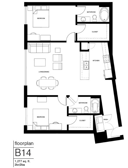 1,277 sq. ft. B12A floor plan