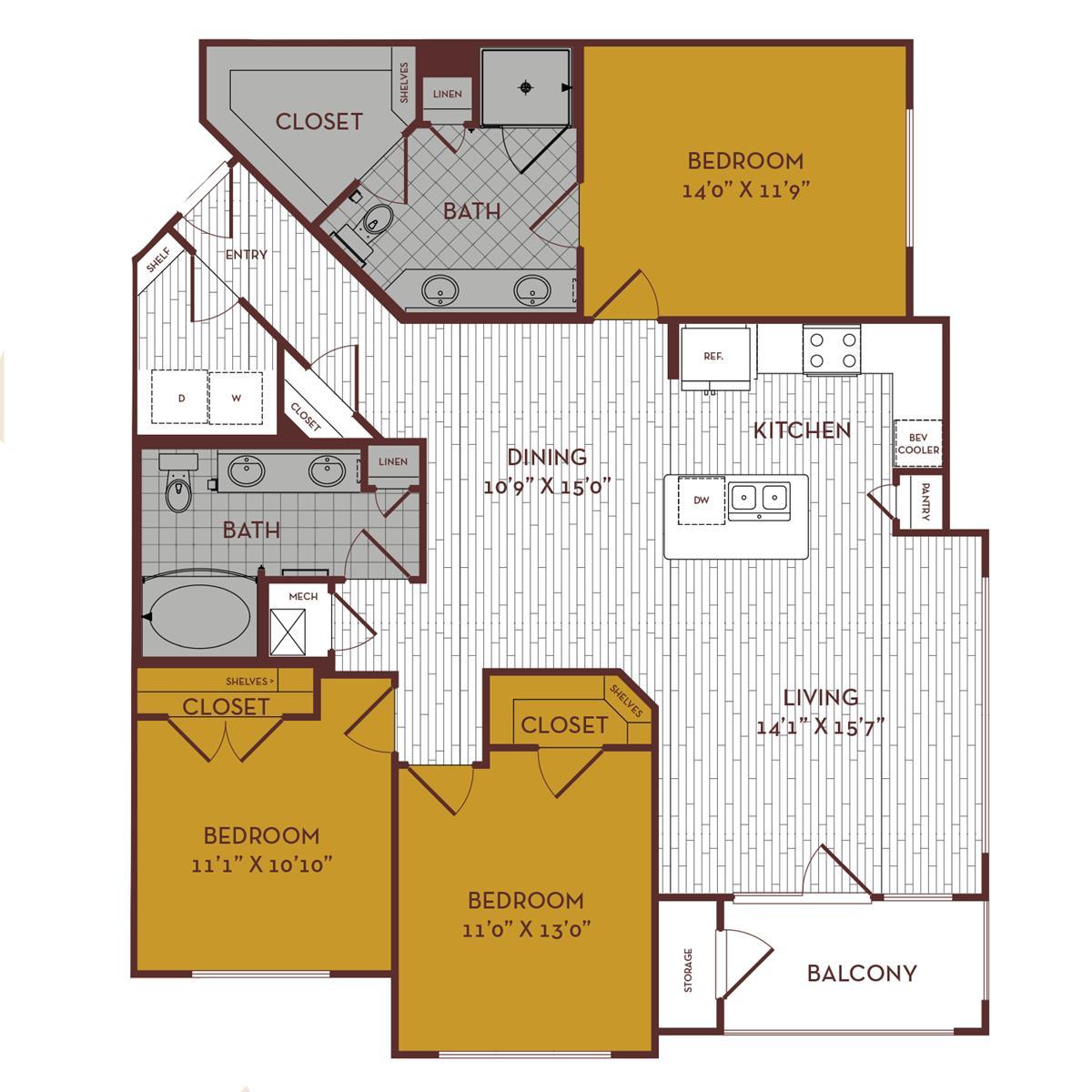 1,429 sq. ft. D1 floor plan